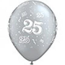 25 A-Round Silver Latex Balloon
