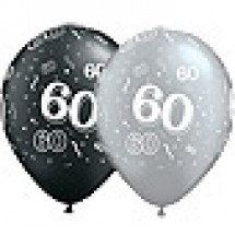 60 Birthday Balloons - Black and Silver