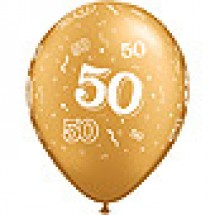 Gold 50 A-Round Latex Balloons
