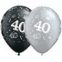 40 Birthday Balloons - Black and Silver