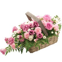 Rustic Pink Rose Basket