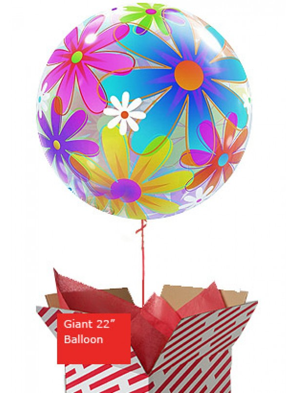 Large Fanciful Flowers Bubble Balloon