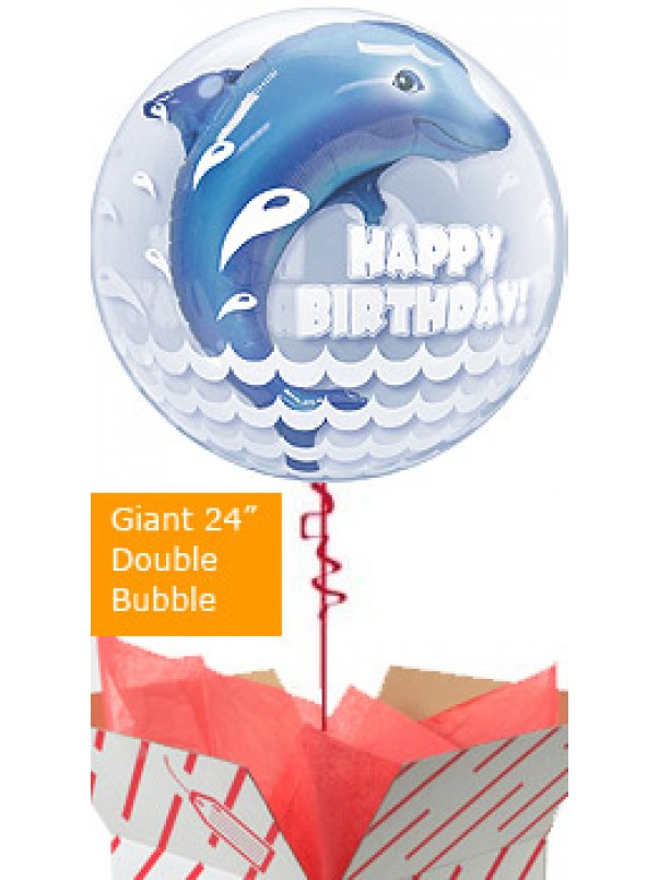 Jumping Dolphin Happy Birthday Balloon