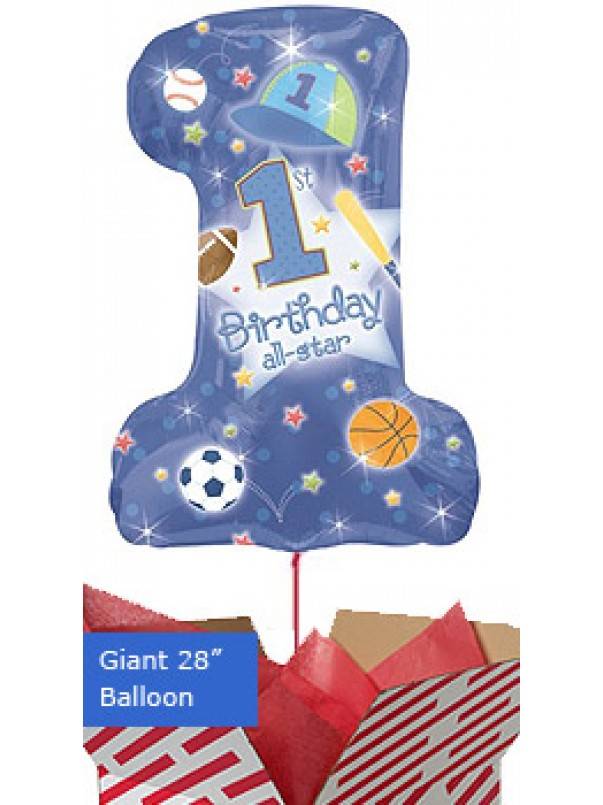 1st Birthday All Star Boy Balloon