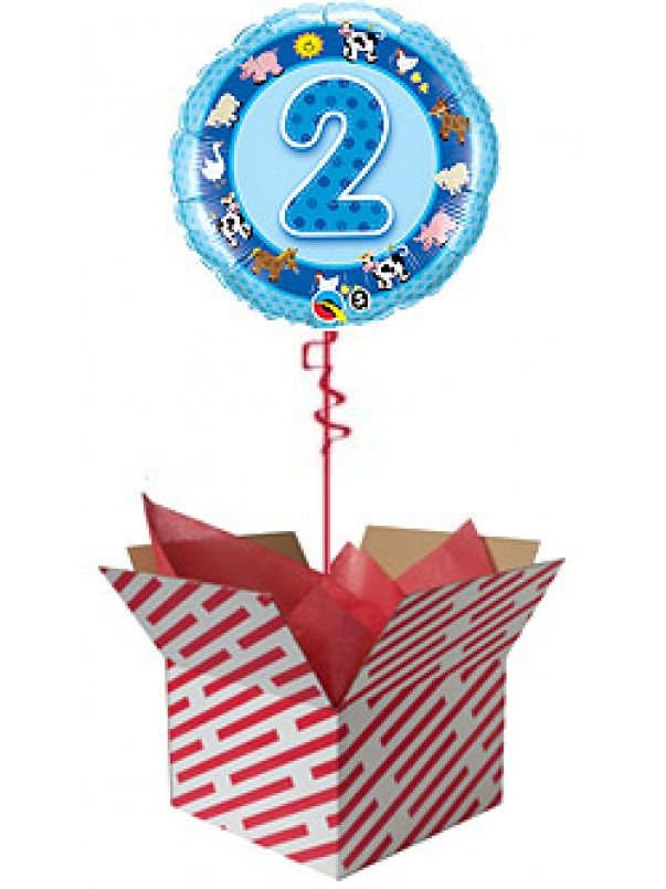 2nd Birthday Blue Farm Animals Balloon