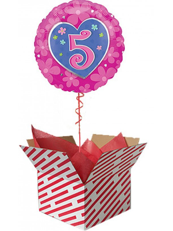 Flower 5th Birthday Balloon Gift