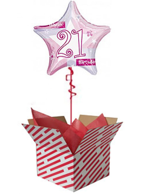 Pink Shimmer 21 Birthday Balloon
