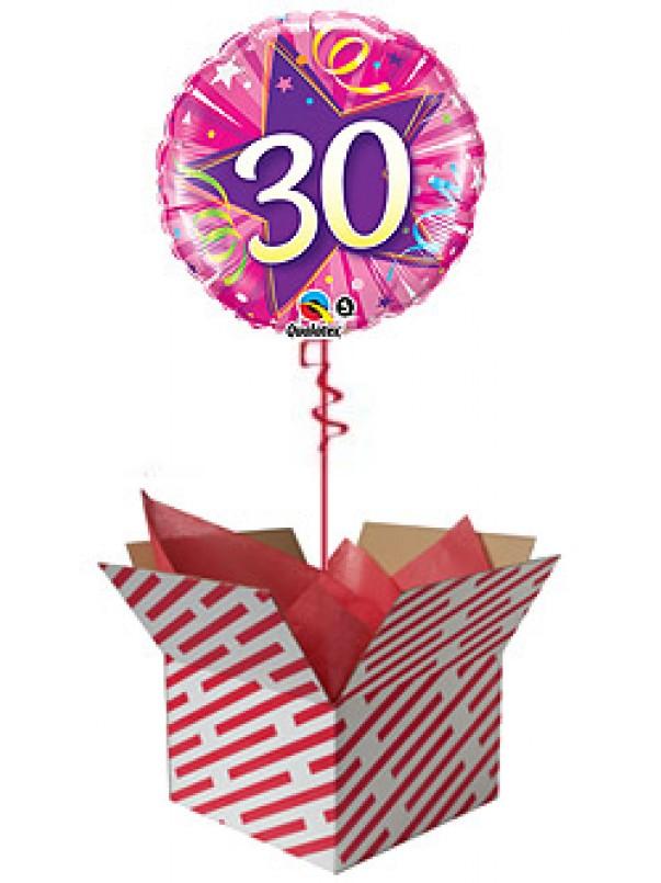 30th Shining Star Hot Pink Birthday Balloon