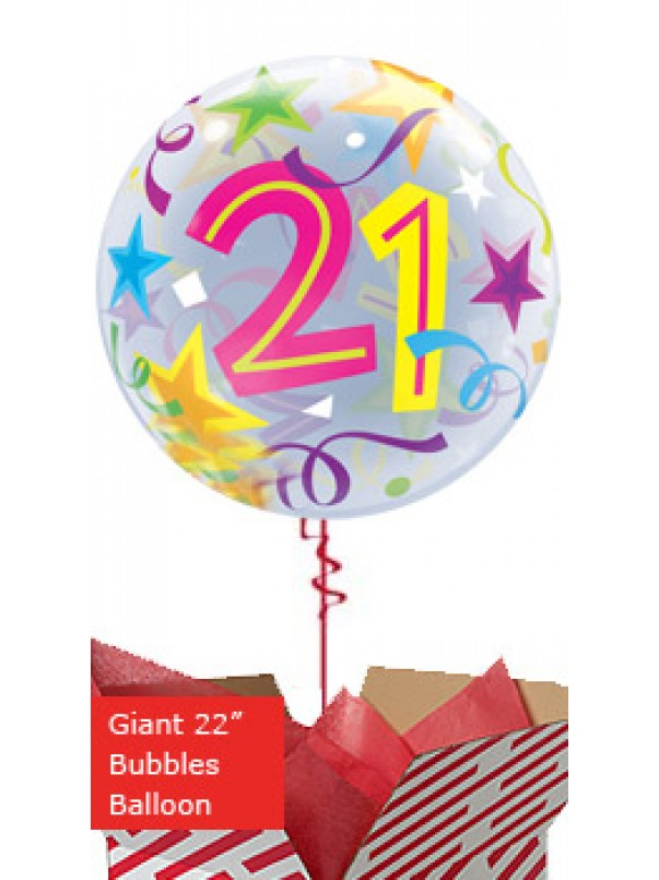 Large 21st Birthday Brilliant Stars Balloon