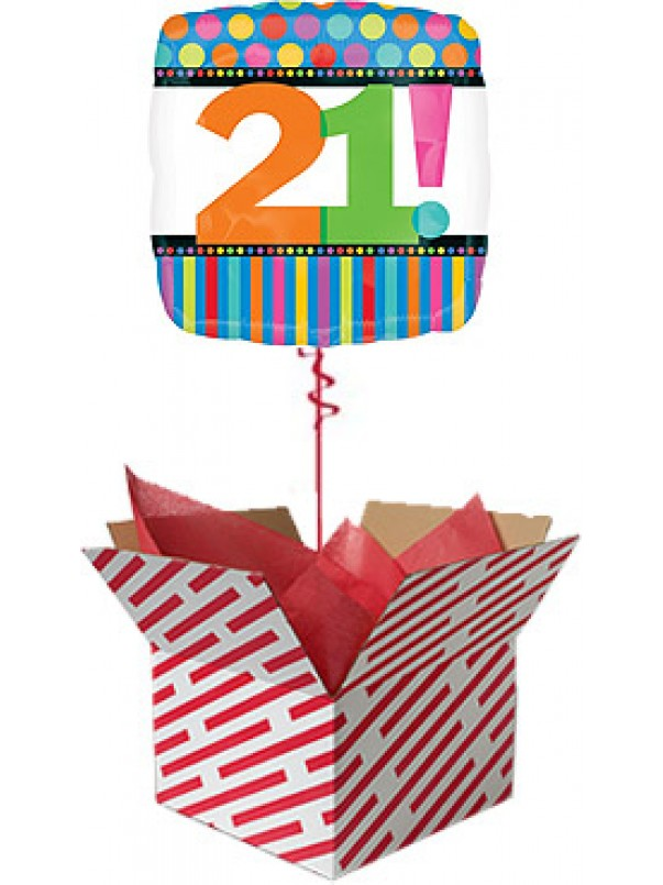 21st Birthday Dots and Stripes Balloon
