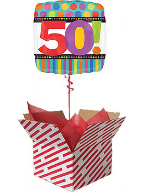50th Birthday Dots and Stripes Balloon