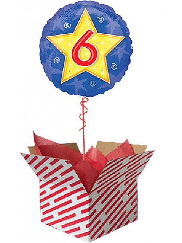 Stars and Swirls 6th Birthday Balloon