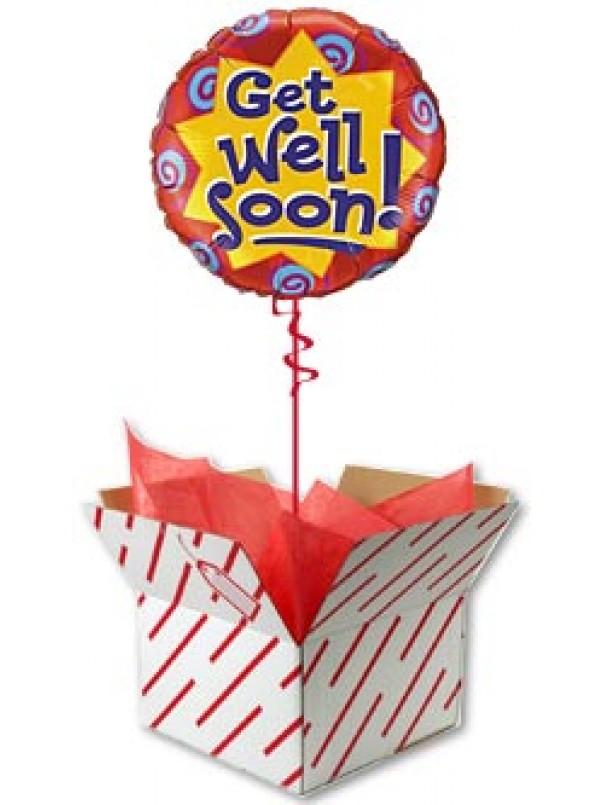 Get Well Soon Balloon - Burst & Swirls