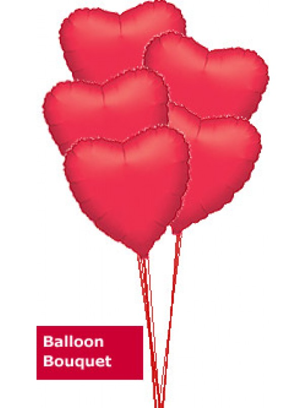 5 Red Hearts - Balloon Bouquet Delivery