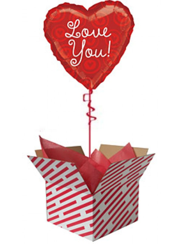 Love You Red Hearts Balloon Gift