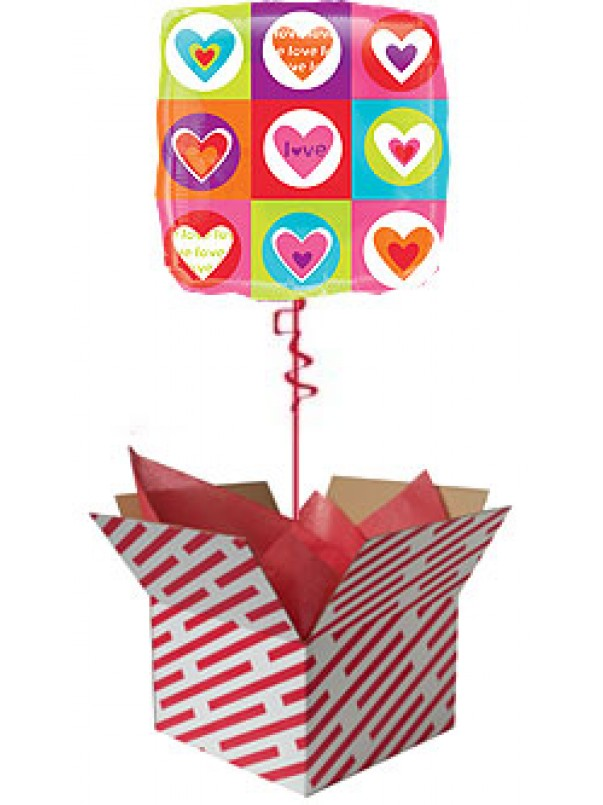 I Love You Hearts and Squares Balloon