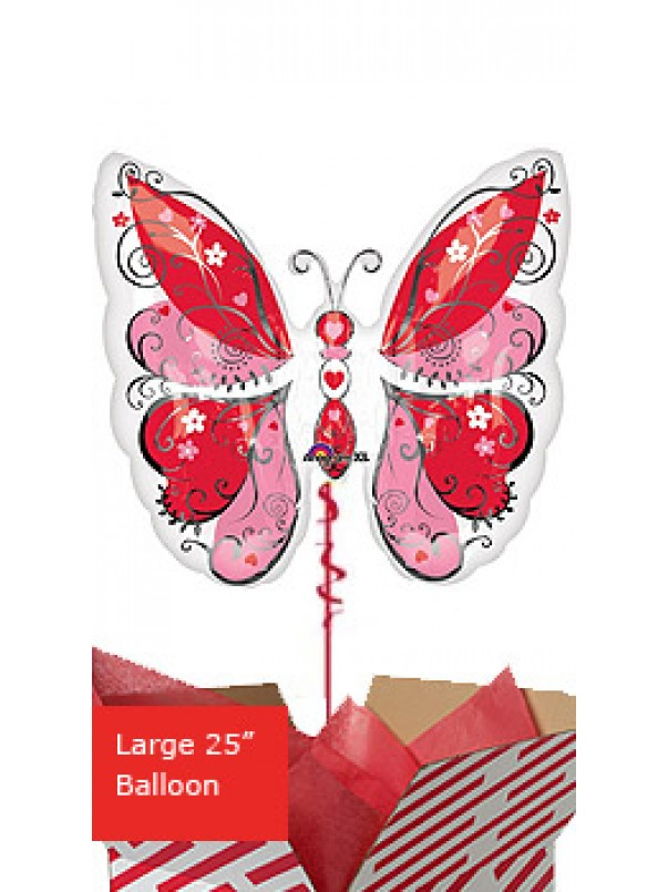 Whimsical Hearts Butterfly Balloon