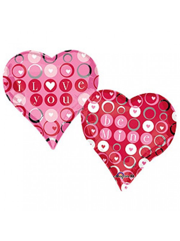 Large Love You Double Heart Balloon