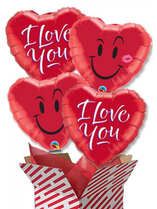 Love You Balloon Bouquet (4 Balloons)