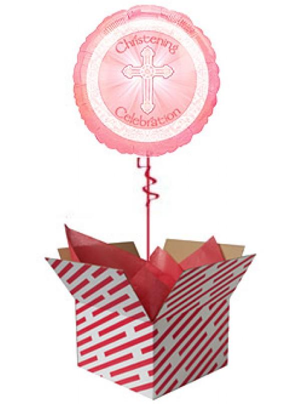 Radiant Cross Pink Christening Balloon