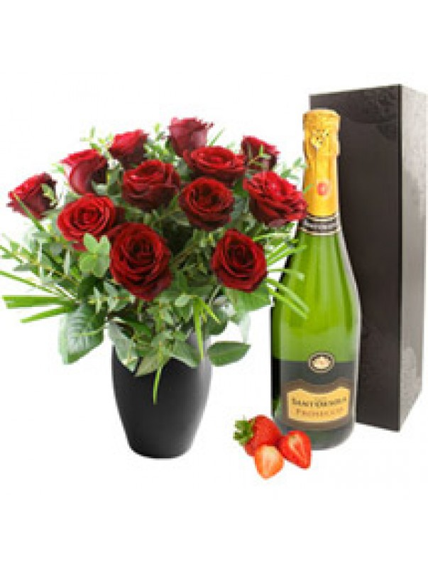 Twelve Red Roses with Prosecco Bubbly