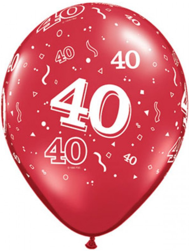 Red 40 A-Round Latex Balloon