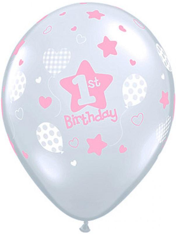 1st Birthday Girl Soft Patterns Balloon