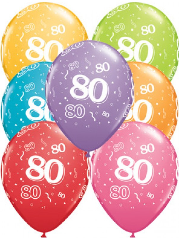 80th A-Round Birthday Balloons