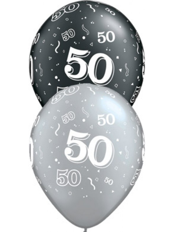 50 Birthday Balloons - Black and Silver