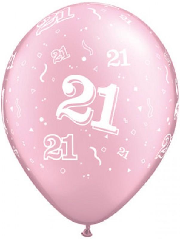 21st A-Round Birthday Balloons - Pink