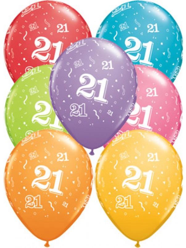 21st A-Round Birthday Balloons