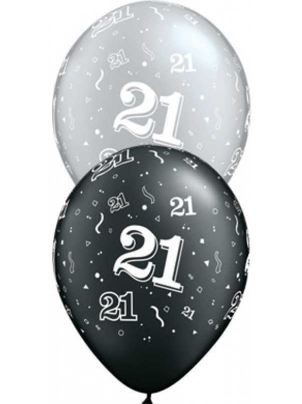21 Birthday Balloons - Black and Silver