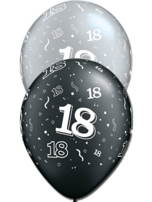 18 Birthday Balloons - Black and Silver