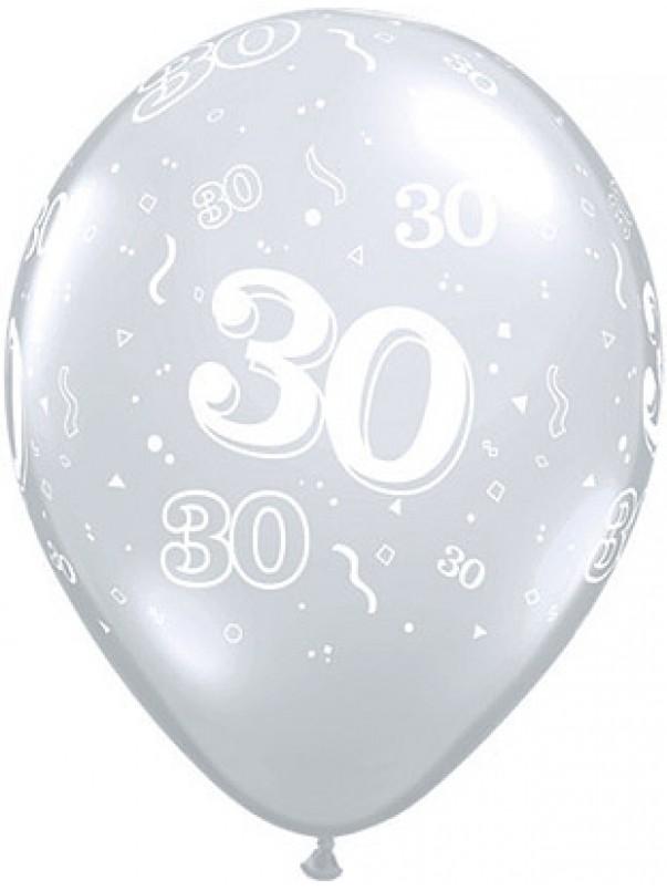 Diamond Clear 30th Birthday Balloons