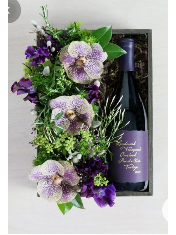 Orchid Flower Crate With Wine