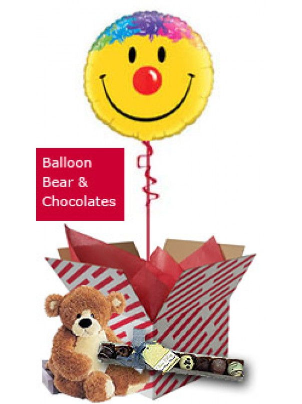 Smiley Face Balloon, Teddy and Chocolates Gift