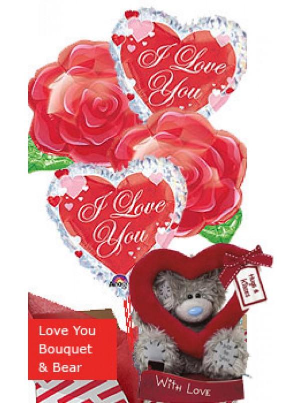Romantic Gift - Balloon Bouquet and Bear
