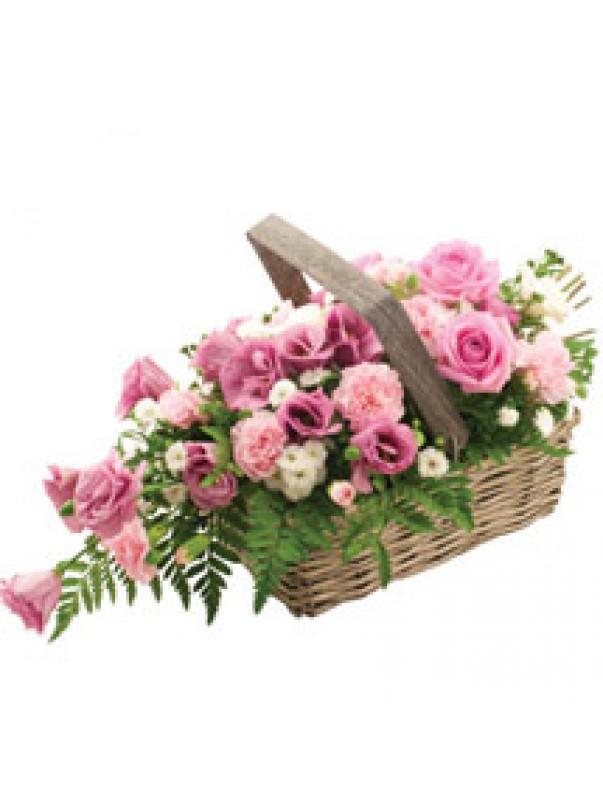 Rustic Pink Rose Basket