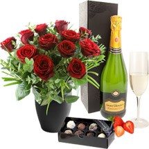 Twelve Roses with Bubbly & Chocolates