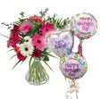 Mothers Day Flowers & 3 Balloons