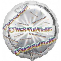"Congratulations Silver 18"" Balloon in a Box"