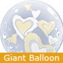 Large White and Ivory Floating Hearts Balloon