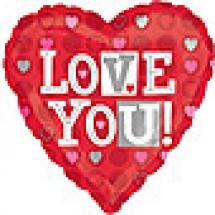 Love You Heart Dots Balloon