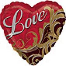 Gold Damask Love Pattern Balloon