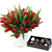 Valentines Tulips & Chocolates