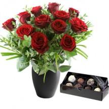 Twelve Red Roses with Luxury Chocolates