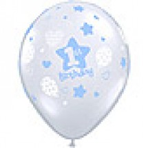 1st Birthday Boy Soft Patterns Balloon