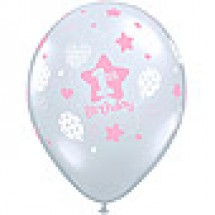 1st Birthday Girl Soft Patterns Balloon