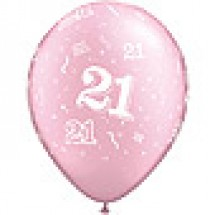 21st A-Round Birthday Balloons - Pink