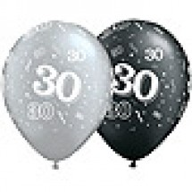 30 Birthday Balloons - Silver and Black
